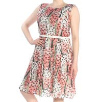 TOMMY HILFIGER Womens Pink Belted Printed Sleeveless Boat Neck Knee Length Fit + Flare Wear To Work Dress  Size: 16