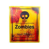 "19 x 16"" Zombies 200km Sign Halloween Prop Indoor & Outdoor"