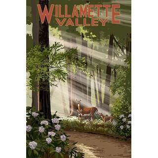 Willamette Valley WA - Deer in Forest - LP Artwork (Art Print - Multiple Sizes)
