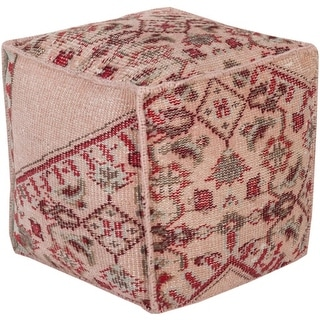 "18"" Coral Pink, Burgundy and Cherry Red Hand Knotted Wool Square Pouf Ottoman"