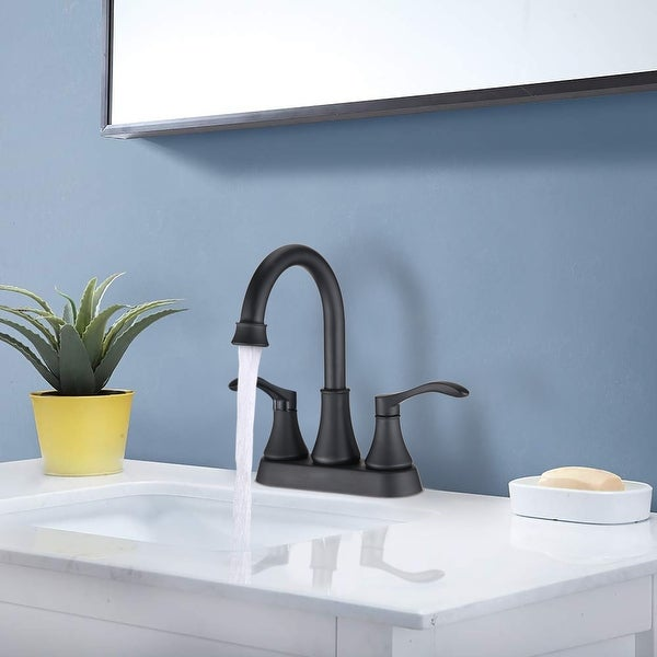 PROOX Bathroom Faucet 4 inches Lavatory Faucet Swivel Spout Centerset Bathroom Sink Faucet 3 holes with Pop Up Drain. Opens flyout.