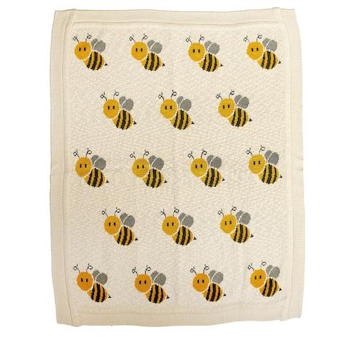 "Honeybee Ivory Knitted 32"" X 40"" Baby Blanket - 32 x 40"