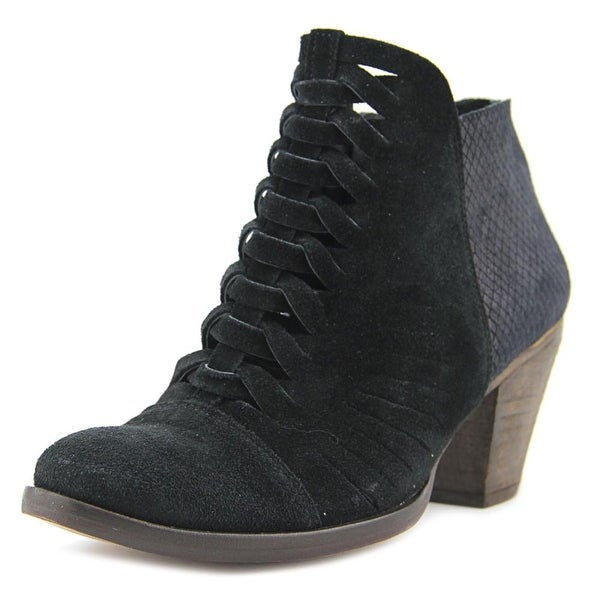 Free People Loveland Women Round Toe Suede Black Ankle Boot