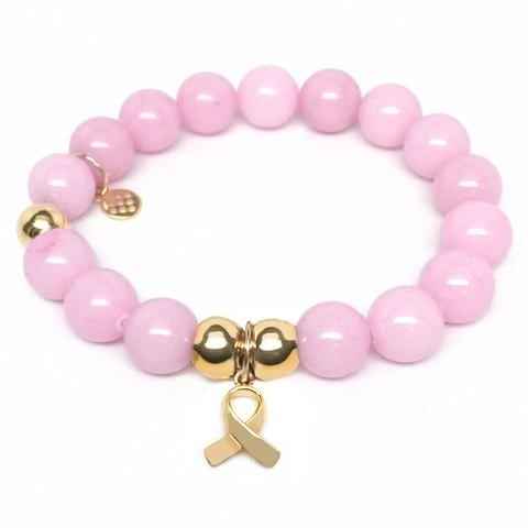 Julieta Jewelry Awareness Ribbon Charm Pink Jade Bracelet