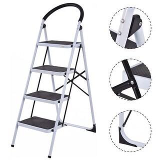 Costway 4 Step Ladder Folding Stool Heavy Duty 330Lbs Capacity Industrial Lightweight