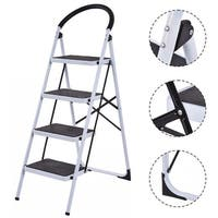 Costway 4 Step Ladder Folding Stool Heavy Duty 330Lbs Capacity Industrial Lightweight - Black & White