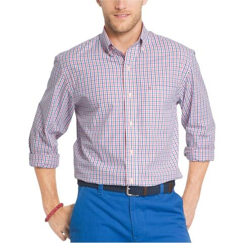 IZOD Mens Advantage Gingham Button Up Shirt, Red, Small