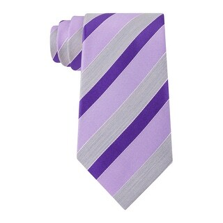 Geoffrey Beene Stripe of the Moment Classic Silk Neck Tie Purple and Grey