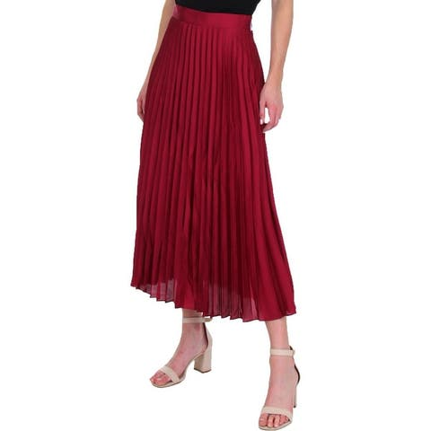 Juicy Couture Black Label Womens Midi Skirt Satin Pleated