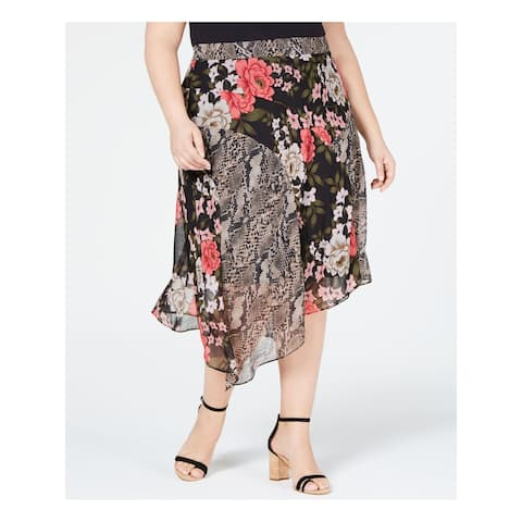 INC Womens Black Printed Tea-Length Pleated Skirt Size 14W