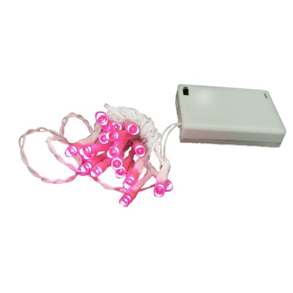 Set of 20 Battery Operated Pink LED Wide Angle Christmas Lights - White Wire