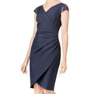 Alex Evenings Charcoal Womens Draped Sheath Dress