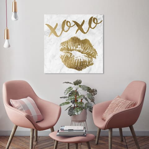 Oliver Gal 'Xoxo Simple Kiss Gold' Fashion and Glam Wall Art Canvas Print Lips - Gold, Gray