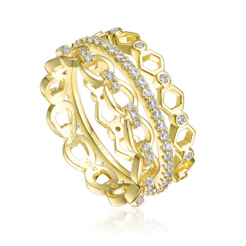 Collette Z Gold Plated Clear Cubic Zirconia Stackable Ring