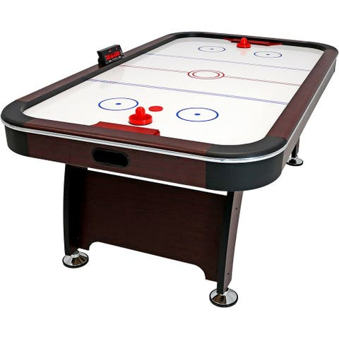 Sunnydaze 7-Foot Electric Air Hockey Game Table with Scorer and Accessories - Black