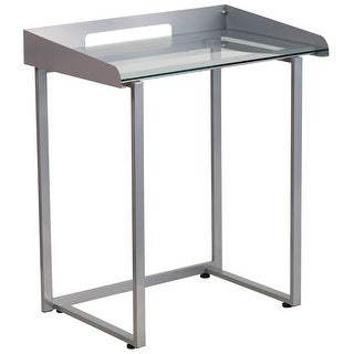 Forsan Home/Office Computer Desk W/Clear Tempered Glass And Silver Frame