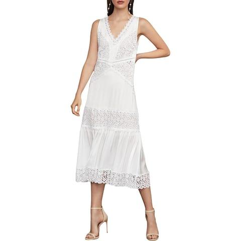 BCBG Max Azria Satin Lace Trim Sleeveless V-Neck Midi Shift Dress - Optic White