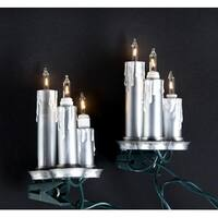 Set of 15 Antique-Style Silver Candle Trio Clip-On Christmas Lights - Green Wire - CLEAR