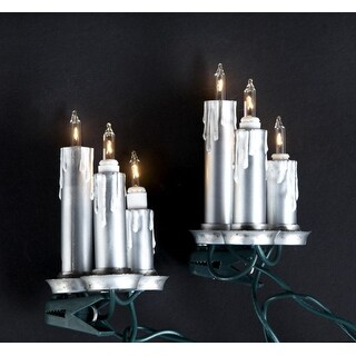 Set of 15 Antique-Style Silver Candle Trio Clip-On Christmas Lights - Green Wire