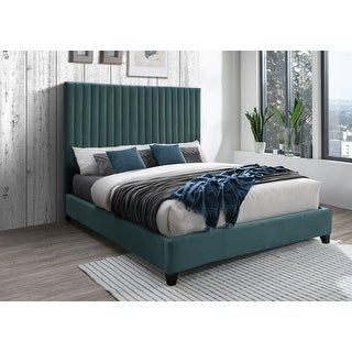 Link to Dobri Channel Tufted Velvet Upholstered Bedframe with High Headboard (Gray/ Teal) Similar Items in Bedroom Furniture