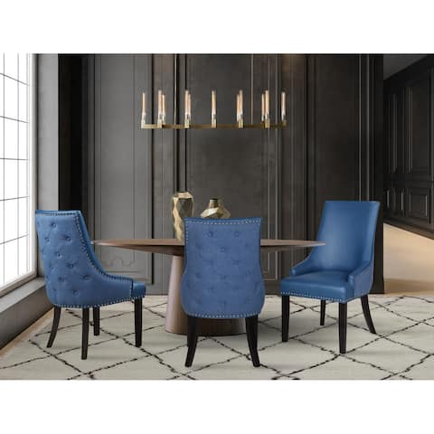 Chic Home Cooper PU Leather and Linen Dining Chair, Set of 2