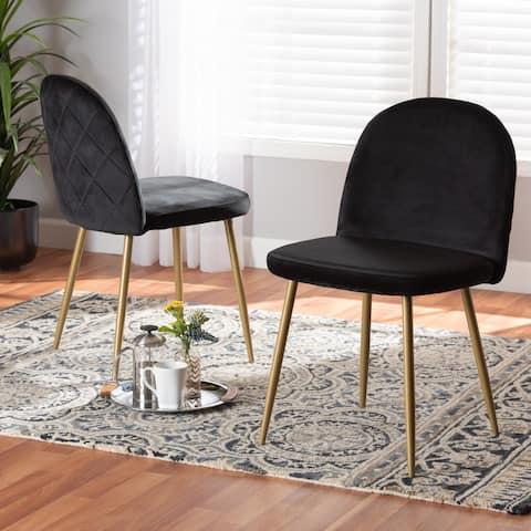 Fantine Modern Luxe & Glam Velvet Upholstered Dining Chair (Set of 2)