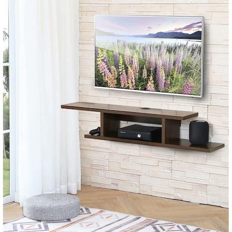 FITUEYES Floating Wall Mounted TV Console Storage Shelf Modern TV Stand Media Console, Walnut DS211802WW - 49.7