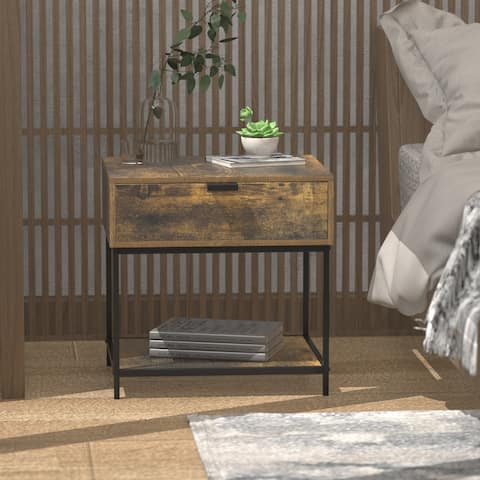 1 - Drawer Nightstand Open Bedside table Wood End Table
