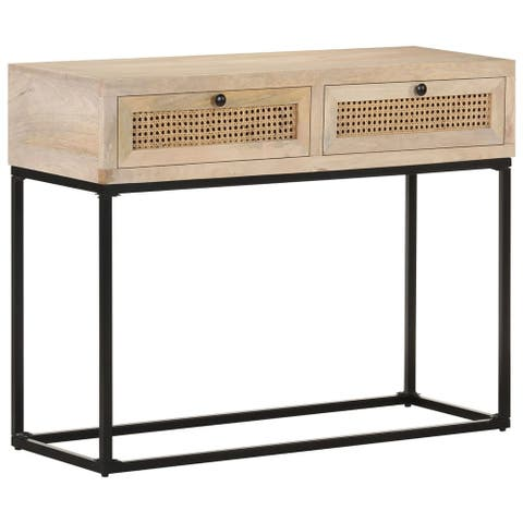 "vidaXL Console Table 39.4""x13.8""x29.9"" Solid Mango Wood Natural Cane"