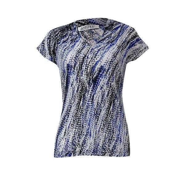 "Kasper Women's ""Province"" Short Sleeves Blouse - electric blue multi"