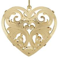 "2.5"" 24K Gold Finished Ornate Filigree Heart Christmas Ornament"