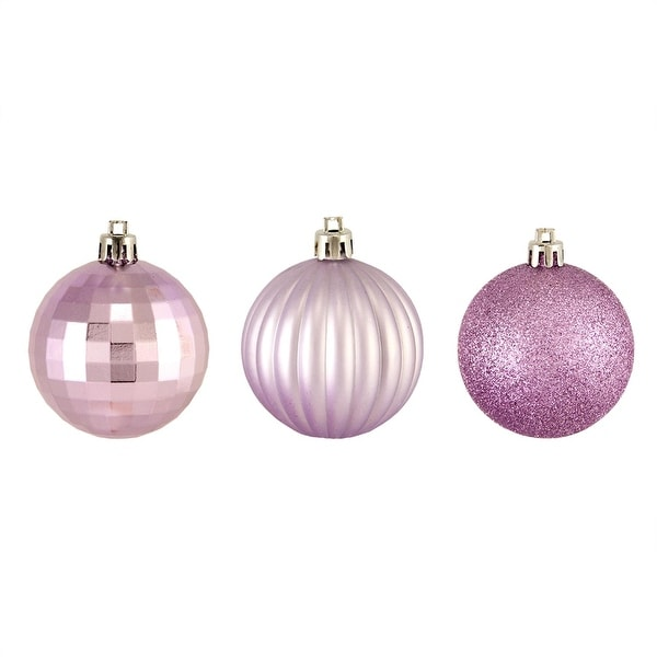 "100ct Lavender Purple 3-Finish Shatterproof Christmas Ball Ornaments 2.5"" (60mm)"