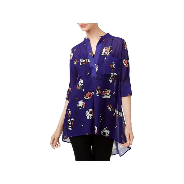 Anne Klein Womens Blouse High-Low Elbow Sleeves