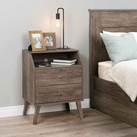 Prepac Milo Mid Century Modern 2-Drawer Nightstand with Angled Top