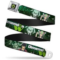 Dimension W Power Logo Full Color Black Green Dimension W Mira & Kyoma Pose Seatbelt Belt