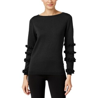 NY Collection Womens Crewneck Sweater Knit Ruffled