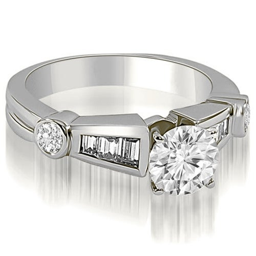 1.20 cttw. 14K White Gold Antique Style Round Baguette Diamond Engagement Ring
