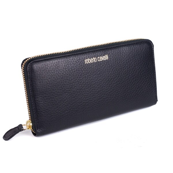 Roberto Cavalli Black Grained Leather Logo Zip around Continental Wallet - no size