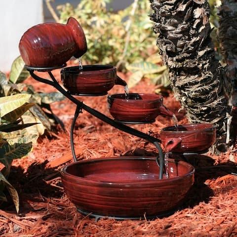 Smart Solar 23941R01 Lava Red Finish Lava Ceramic Solar Cascade