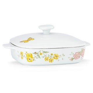 Lenox 855622 Butterfly Meadow Dinnerware Square Carved Casserole with Lid - 11.75 x 9