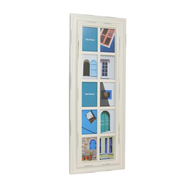 """35"""" Distressed Eggshell White Photo Picture Frame Collage Wall Decoration"""