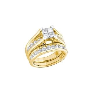 14k Yellow Gold Princess Natural Diamond Womens Matching Wedding Bridal Ring Set 1.00 Cttw - White
