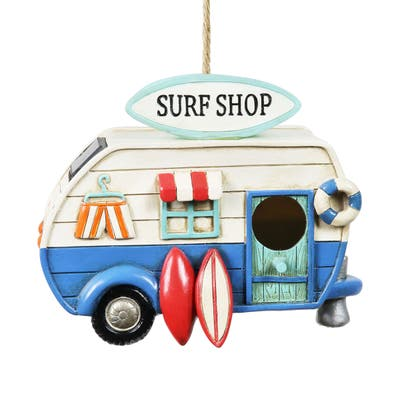 Exhart Solar Retro Surf Shop RV Hanging Bird House, 8.5 by 7 Inches