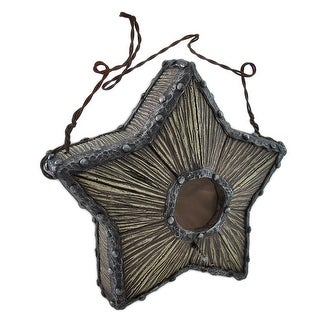 Wood and Metal Look Star Birdhouse with Wire Hanger