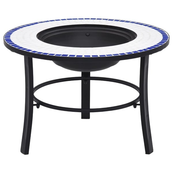 """vidaXL Mosaic Fire Pit Blue and White 26.8"""" Ceramic. Opens flyout."""
