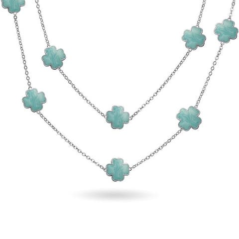 Aqua Blue Clover Flower Silver Plated Tin Cup Chain Layer Necklace