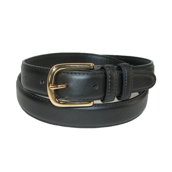 Aquarius Men's Leather Feather Edge Belt with Gold Buckle