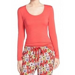 Josie Natori NEW Orange Womens Size Small S Scoop Neck Solid Knit Top