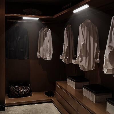 10LED Motion Sensor Light Wardrobe Cabinet Closet Stairs Battery-Powered Night Light White for Kitchen Bath Bar
