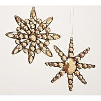 "5.25"" Amber Jeweled Diamond Gem Snowflake Decorative Christmas Ornament"